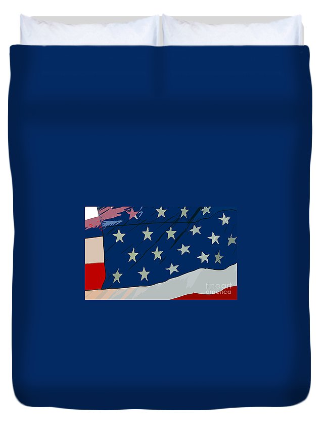 Flag Duvet Cover featuring the painting American Beauty by David Lee Thompson