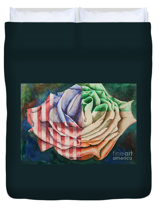American Duvet Cover featuring the painting American Beauty Irish Rose by Ann Sokolovich