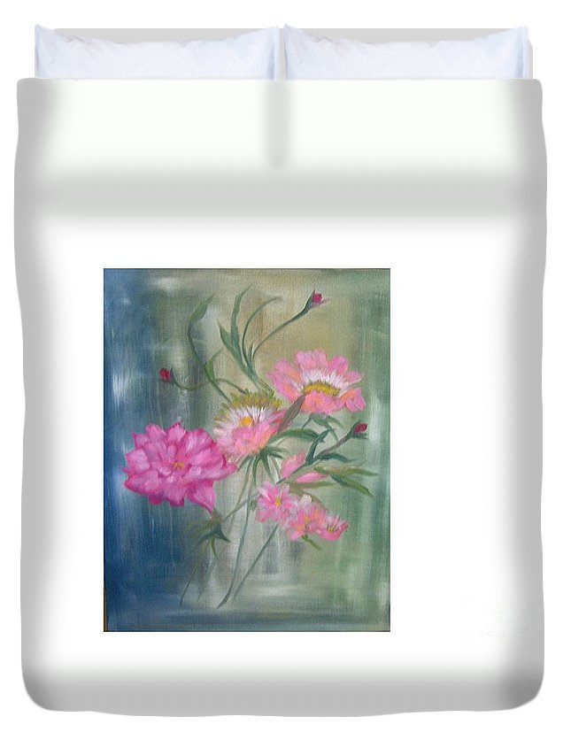 Pink Roses Still Life Duvet Cover featuring the painting American Beauty Rose by Hal Newhouser