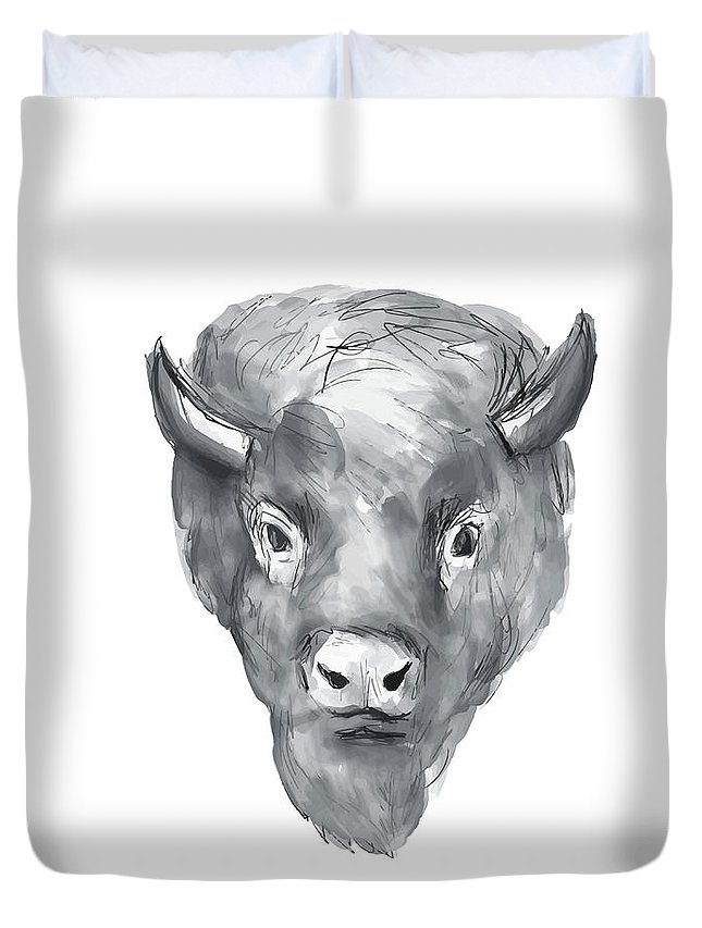 Watercolor Duvet Cover featuring the digital art American Bison Head Watercolor by Aloysius Patrimonio