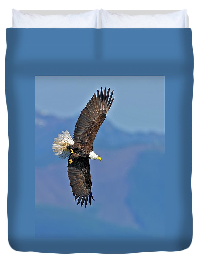 American Duvet Cover featuring the photograph American Blad Eagle On The Wing by Gary Langley