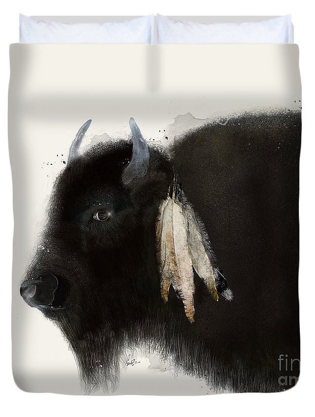 Buffalo Duvet Cover featuring the painting American Buffalo by Bri Buckley