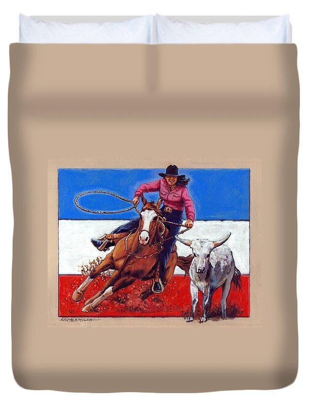 American Cowgirl Duvet Cover featuring the painting American Cowgirl by John Lautermilch
