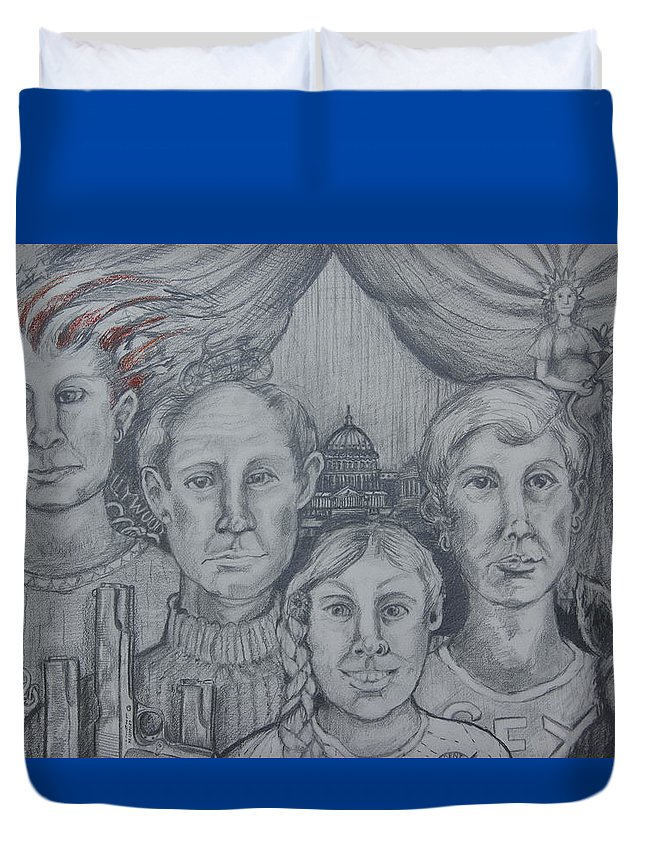 Portrait Duvet Cover featuring the drawing American Family? by Susan Brown  Slizys art signature name