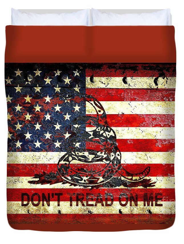 Snake Duvet Cover featuring the digital art American Flag And Viper On Rusted Metal Door - Don't Tread On Me by M L C