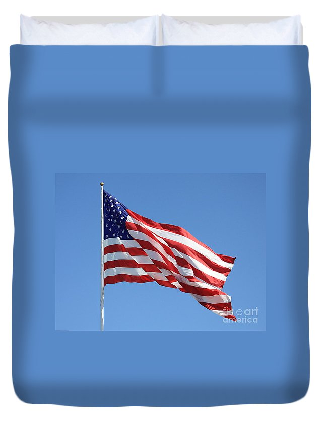 Flag Duvet Cover featuring the photograph American Flag by Carol Groenen
