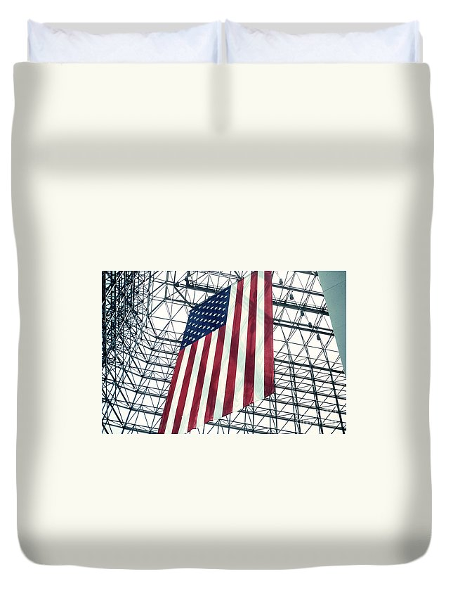 Flag Duvet Cover featuring the photograph American Flag In Kennedy Library Atrium - 1982 by Thomas Marchessault