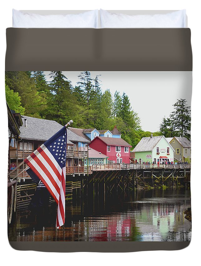 Barbara Snyder Duvet Cover featuring the photograph American Flag On Creek Street Ketchikan Alaska by Barbara Snyder