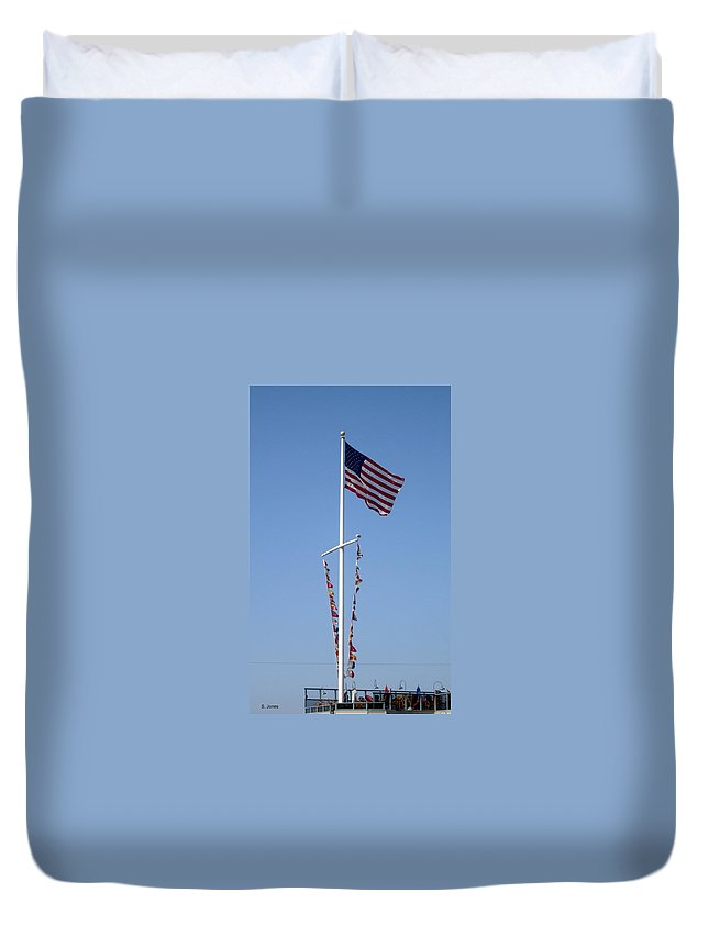 American Flag Duvet Cover featuring the photograph American Flag by Shelley Jones