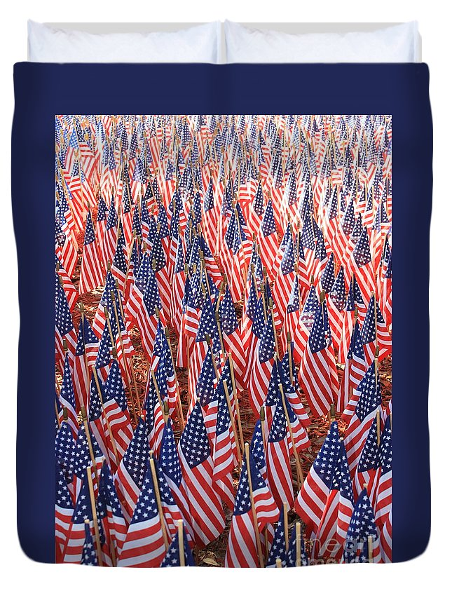 American Flags Duvet Cover featuring the photograph American Flags In Tampa by Carol Groenen