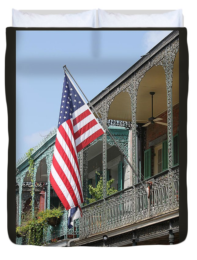 American Flag Duvet Cover featuring the photograph American French Quarter by Lauri Novak