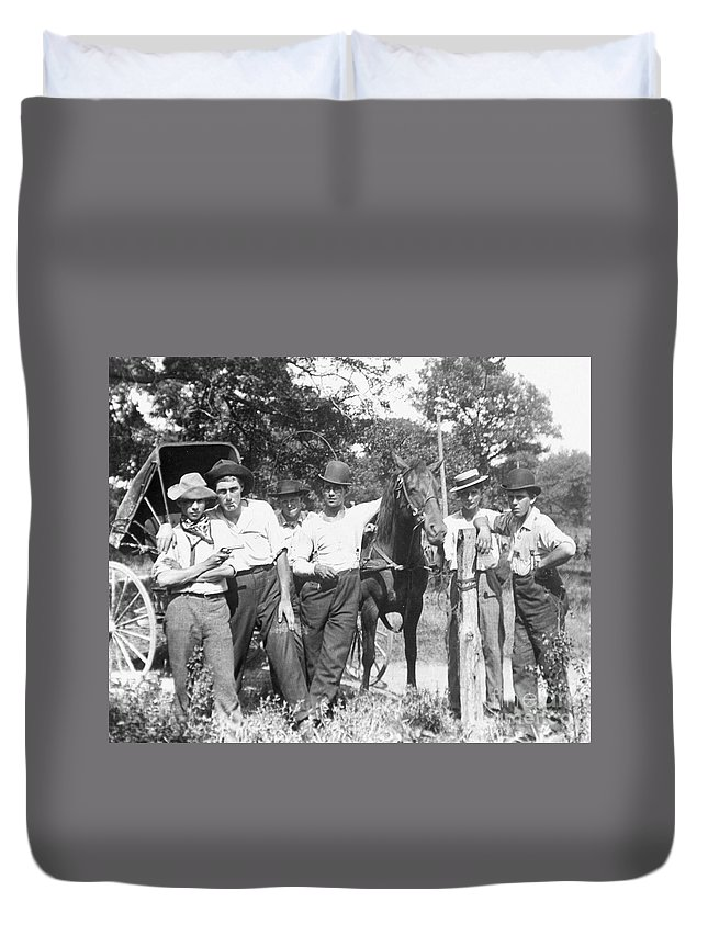 1900 Duvet Cover featuring the photograph American Gang, C1900 by Granger