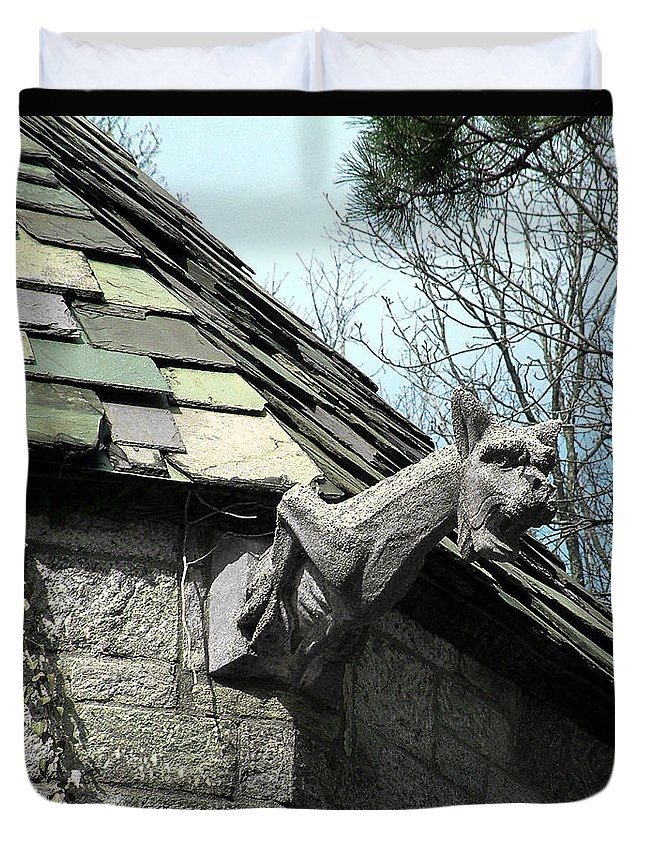 Architecture Duvet Cover featuring the photograph American Gargoyle by RC DeWinter
