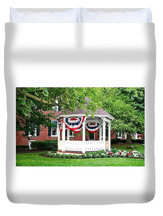 Gazebo Duvet Cover featuring the photograph American Gazebo by Margie Wildblood