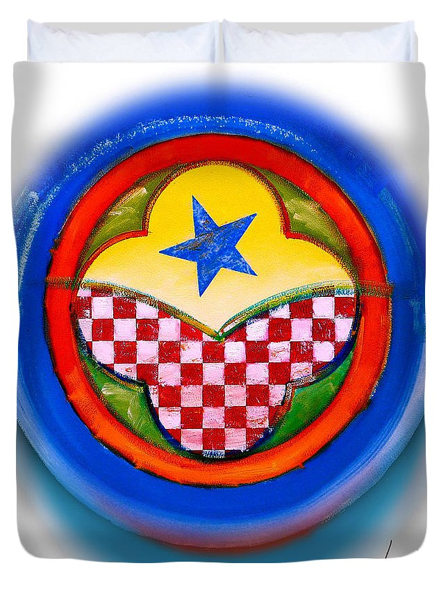 Pinball Duvet Cover featuring the painting American Happiness Button by Charles Stuart
