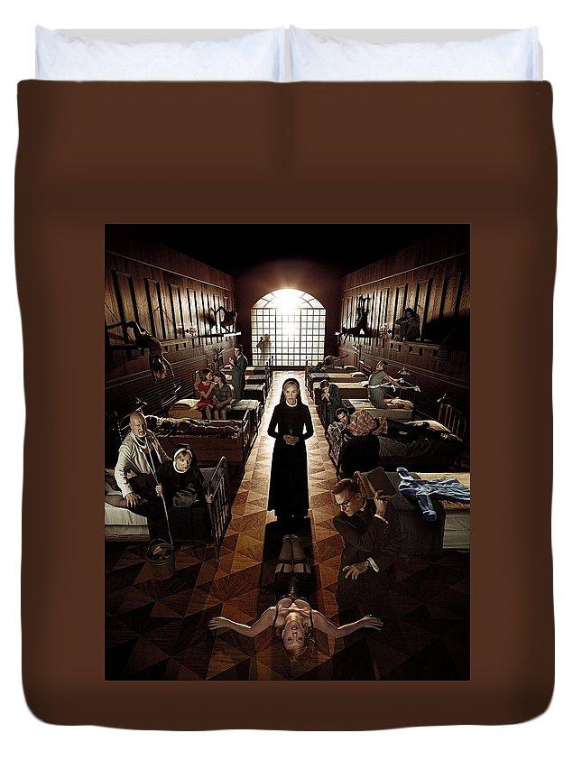 American Horror Story Asylum 2012 Duvet Cover featuring the digital art American Horror Story Asylum 2012 by Geek N Rock