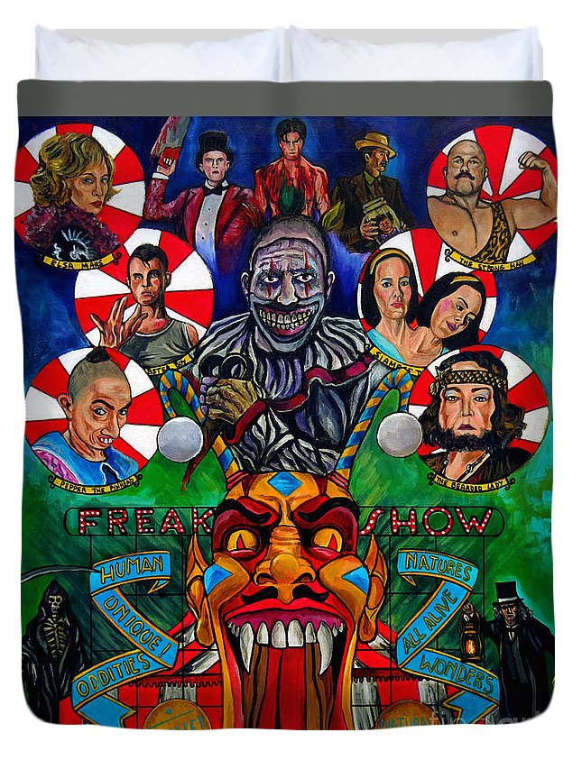 American Horror Story Duvet Cover featuring the painting American Horror Story Freak Show by Jose Mendez