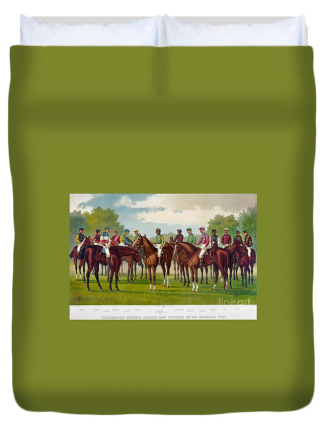 1889 Duvet Cover featuring the photograph American Jockeys, 1889 by Granger