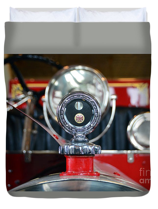 Kansas Firefighters Museum Duvet Cover featuring the photograph American Lafrance Vintage Fire Truck Gas Cap by Catherine Sherman