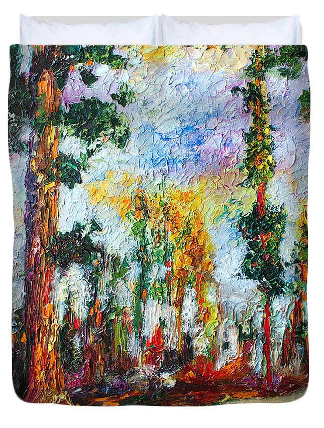 Impressionism Duvet Cover featuring the painting American National Parks Redwood Trees by Ginette Callaway