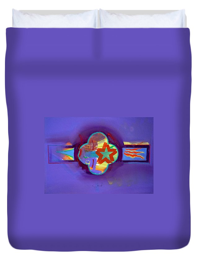 Star Duvet Cover featuring the painting American Neon by Charles Stuart