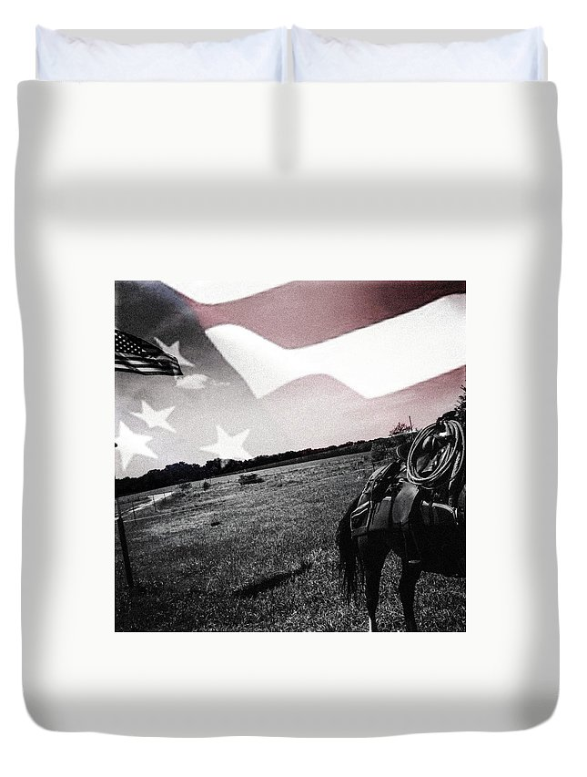 America Duvet Cover featuring the photograph American Patriot - Cowboy -girl by Michele Carter