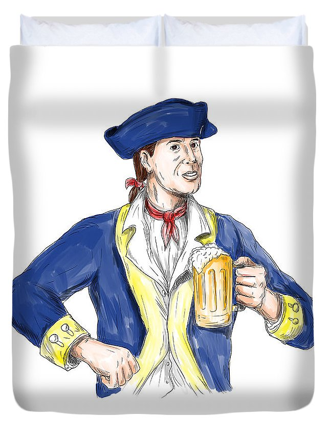 �watercolor Duvet Cover featuring the digital art American Patriot Holding Beer Mug Toast Watercolor by Aloysius Patrimonio