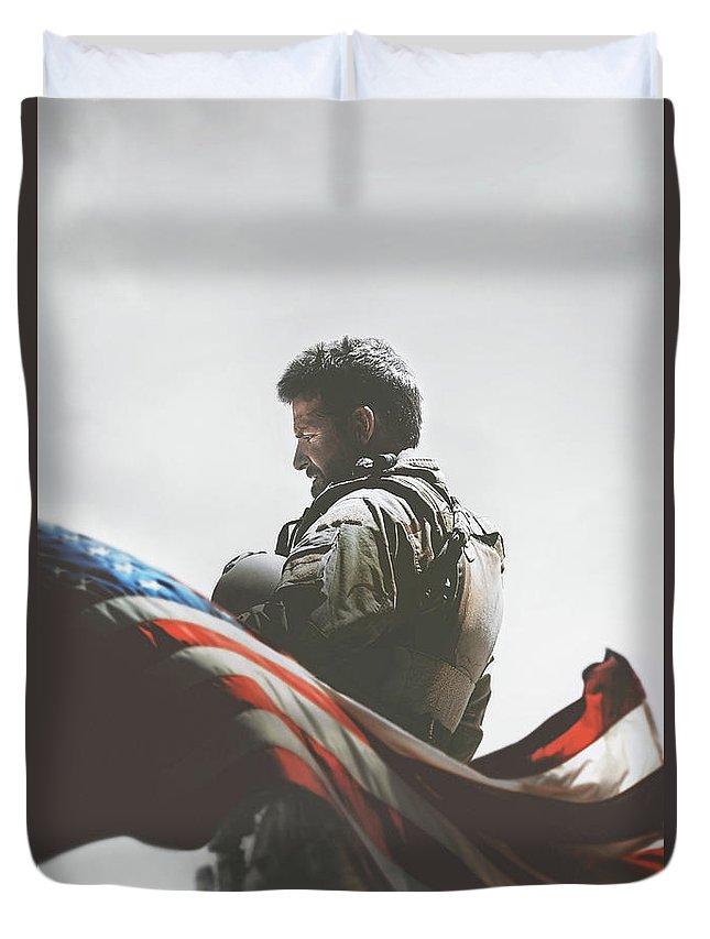 American Sniper 2014 Duvet Cover featuring the digital art American Sniper 2014 by Geek N Rock