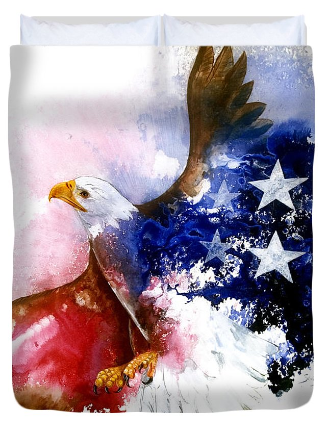 Bird Duvet Cover featuring the painting American Spirit by Sherry Shipley