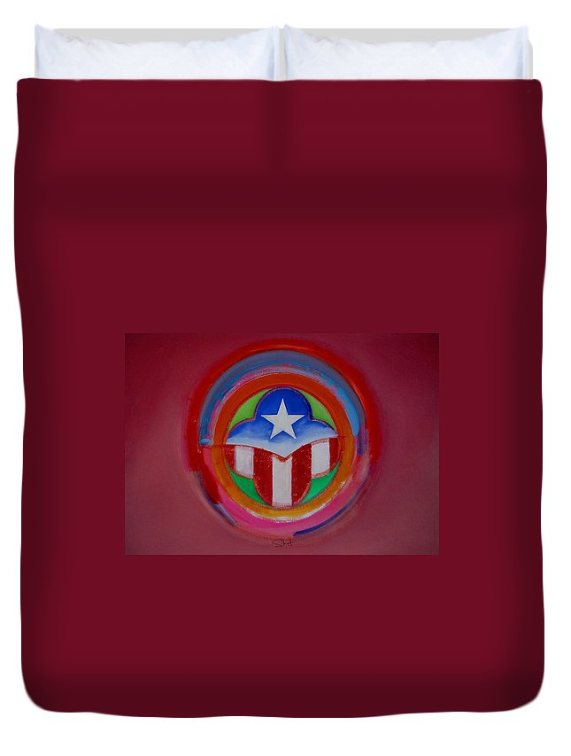 Button Duvet Cover featuring the painting American Star Button by Charles Stuart
