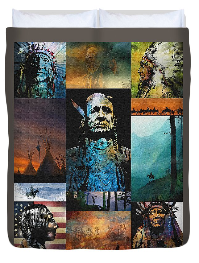 Native American Duvet Cover featuring the painting American Tapestry by Paul Sachtleben
