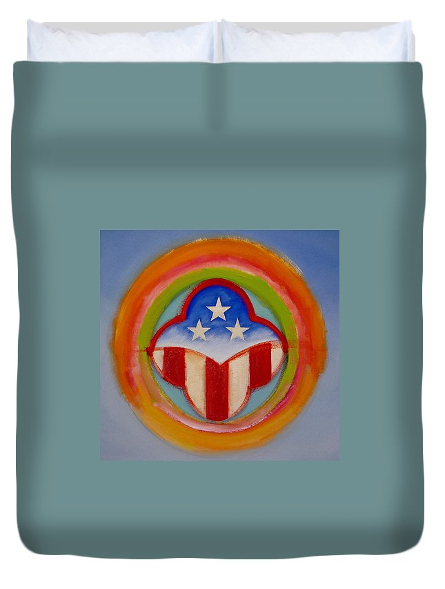 Logo Duvet Cover featuring the painting American Three Star Landscape by Charles Stuart