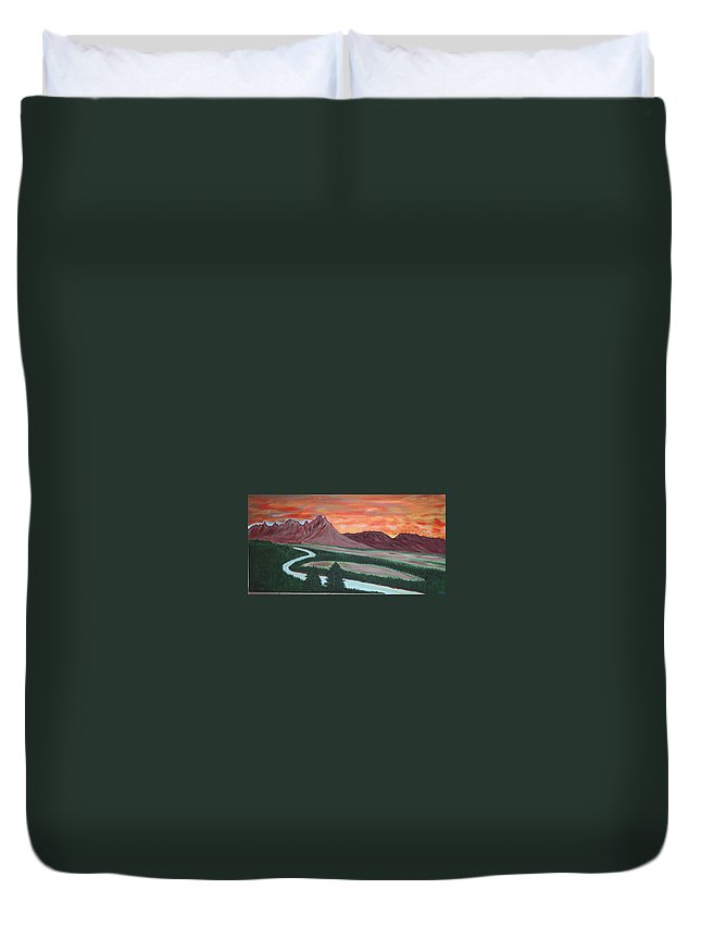 Landscape Duvet Cover featuring the painting American Valley by Marco Morales