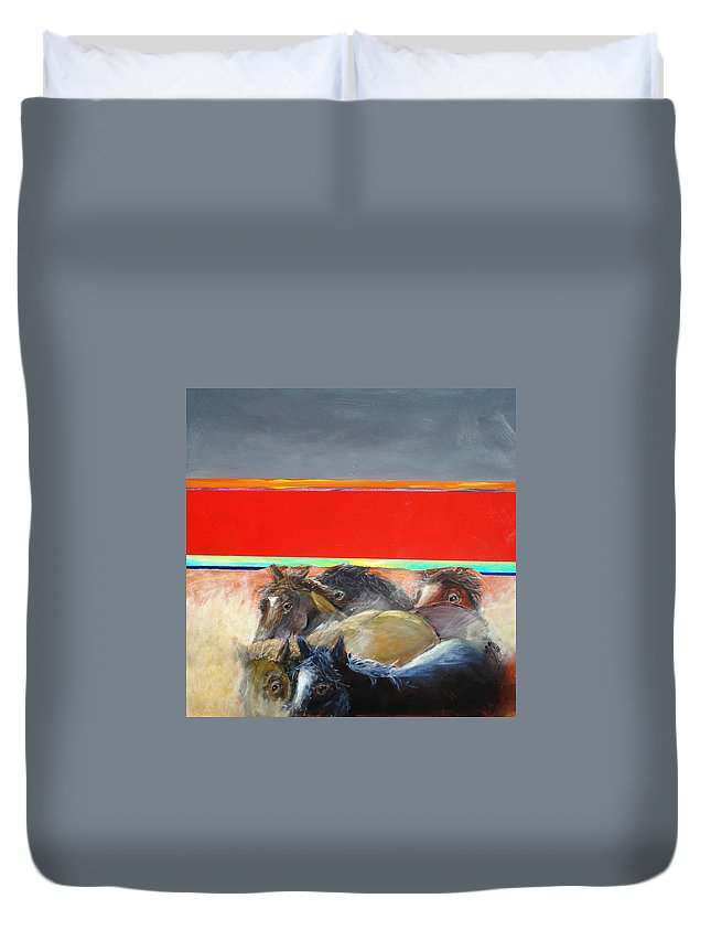 American Wild Horses Duvet Cover featuring the painting American Wild Horses Herded To Slaughter by Paul Miller