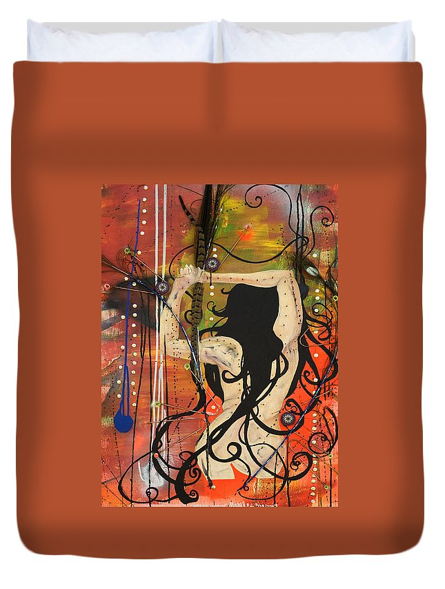 Woman Duvet Cover featuring the painting American Witch by Sheridan Furrer
