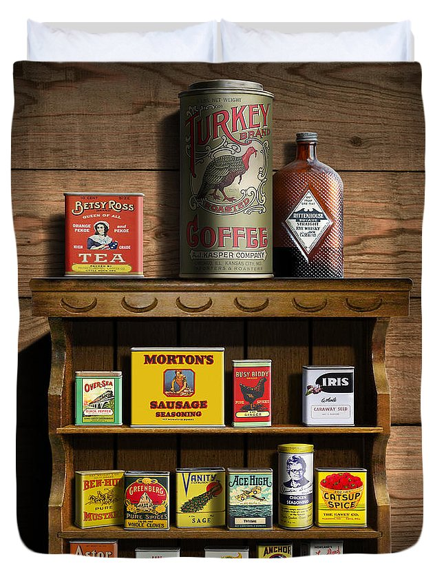 Americana Kitchen Art Decor - Vintage Spice Cans Tins 2 - Nostalgic Spice  Rack - Square Format Duvet Cover