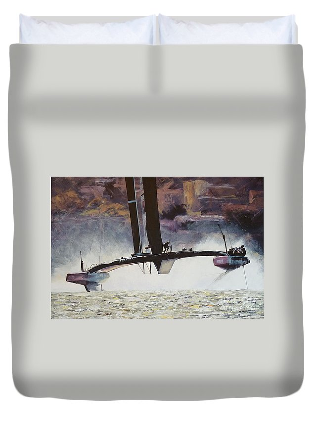 America's Cup Duvet Cover featuring the painting America's Cup 2013 Series II by Anna Duckworth