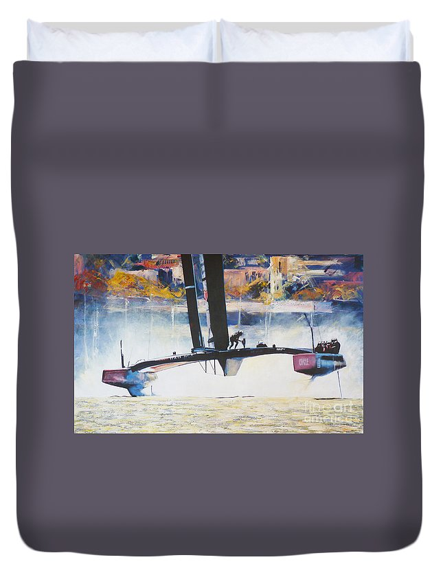 America's Cup Duvet Cover featuring the painting America's Cup 2013 Series IIi by Anna Duckworth