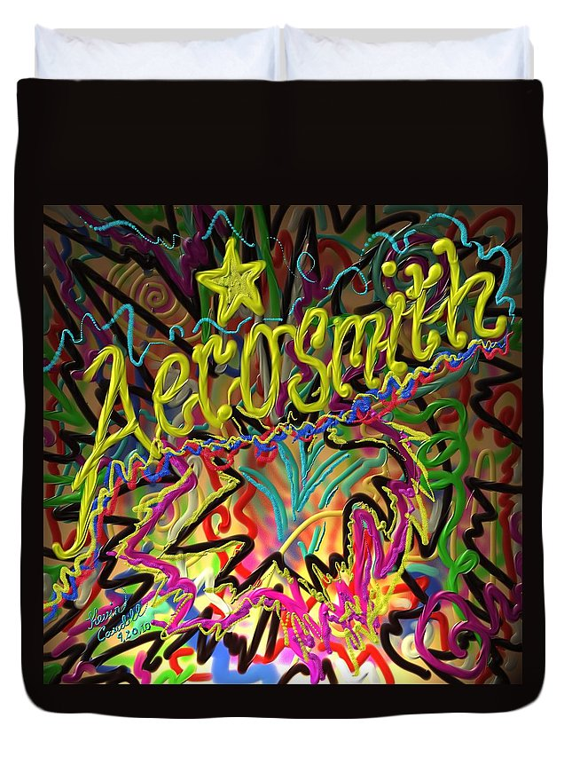 Aerosmith Duvet Cover featuring the painting America's Rock Band by Kevin Caudill