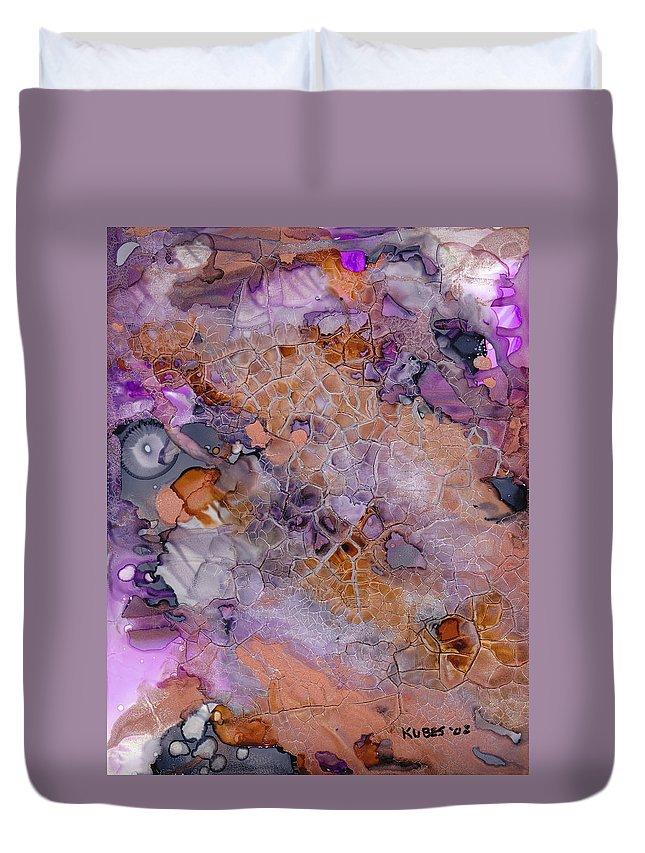 Abstract Duvet Cover featuring the mixed media Amethyst And Copper by Susan Kubes