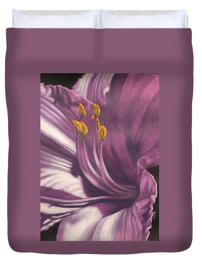 Floral Duvet Cover featuring the mixed media Amethyst by Barbara Keith