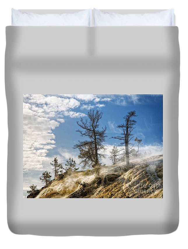 Yellowstone Duvet Cover featuring the photograph Amidst The Steam by Claudia Kuhn