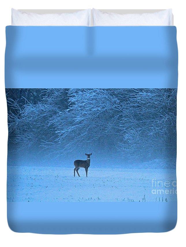 Deer Duvet Cover featuring the photograph Amidst The Swirling Snow by Robin Erisman