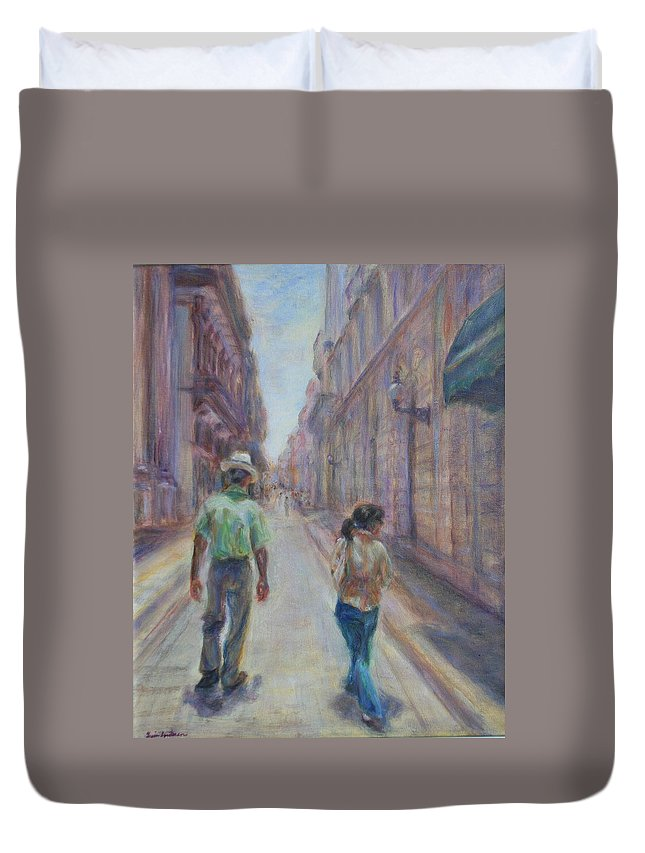 Quin Sweetman Duvet Cover featuring the painting Amigos En Havana by Quin Sweetman