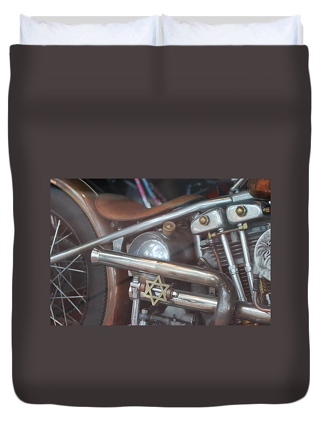 Motorcycle Duvet Cover featuring the photograph Ami's Bike by Rob Hans