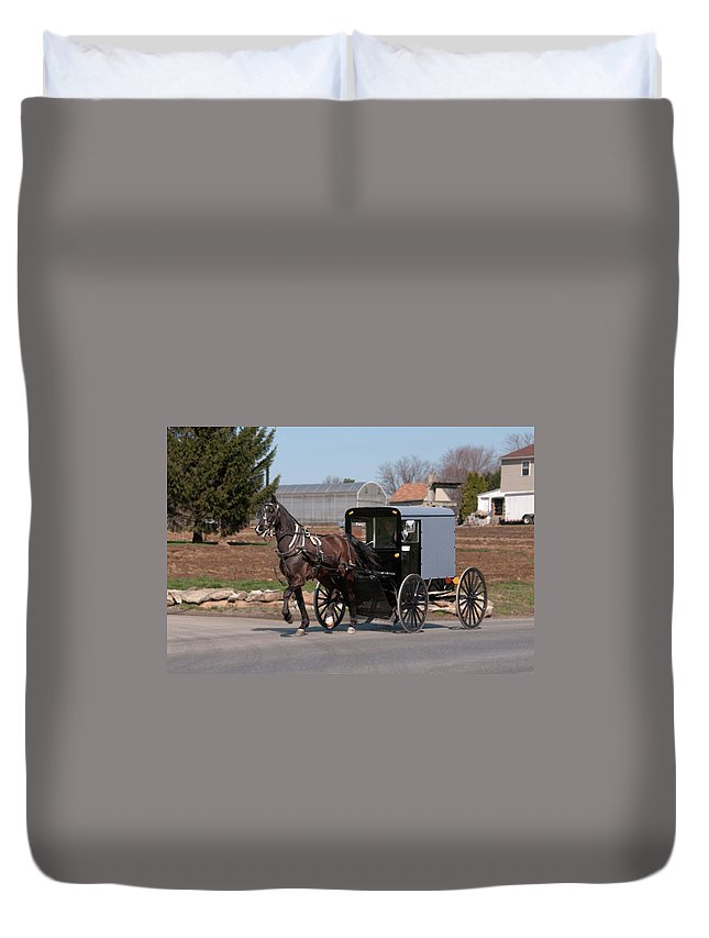 Amish Duvet Cover featuring the photograph Amish Buggy And High Stepper by David Arment