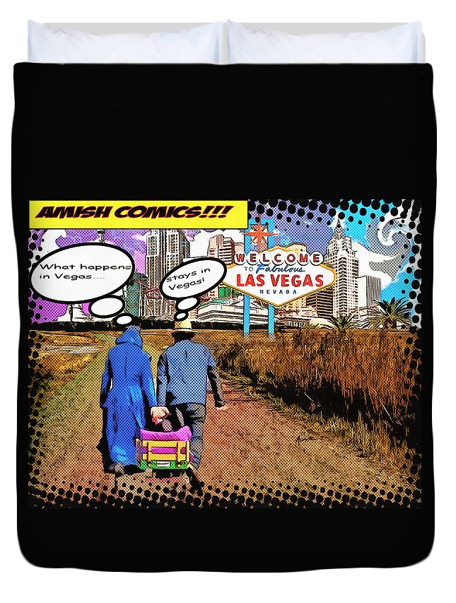 Humor Duvet Cover featuring the digital art Amish Comics by Anthony Caruso