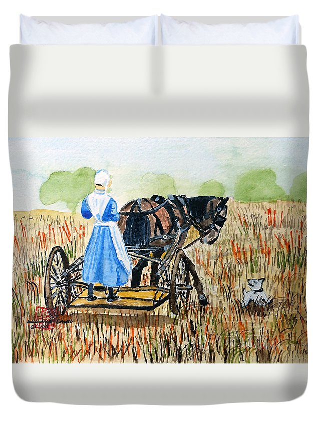 Kentucky Duvet Cover featuring the painting Amish Girl With Buggy by Arlene Wright-Correll