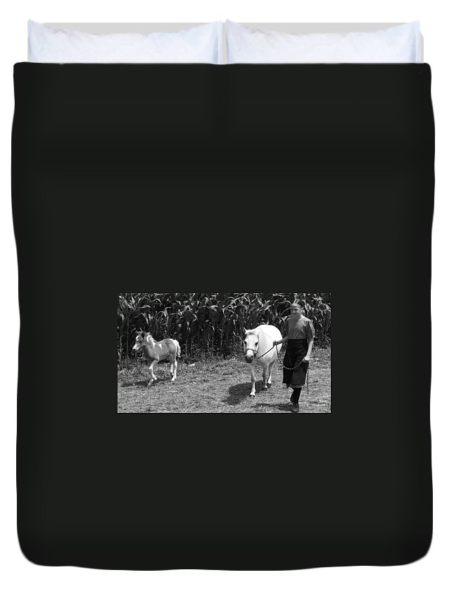Amish Girl With Her Colt Duvet Cover featuring the photograph Amish Girl With Her Colt by Eric Schiabor