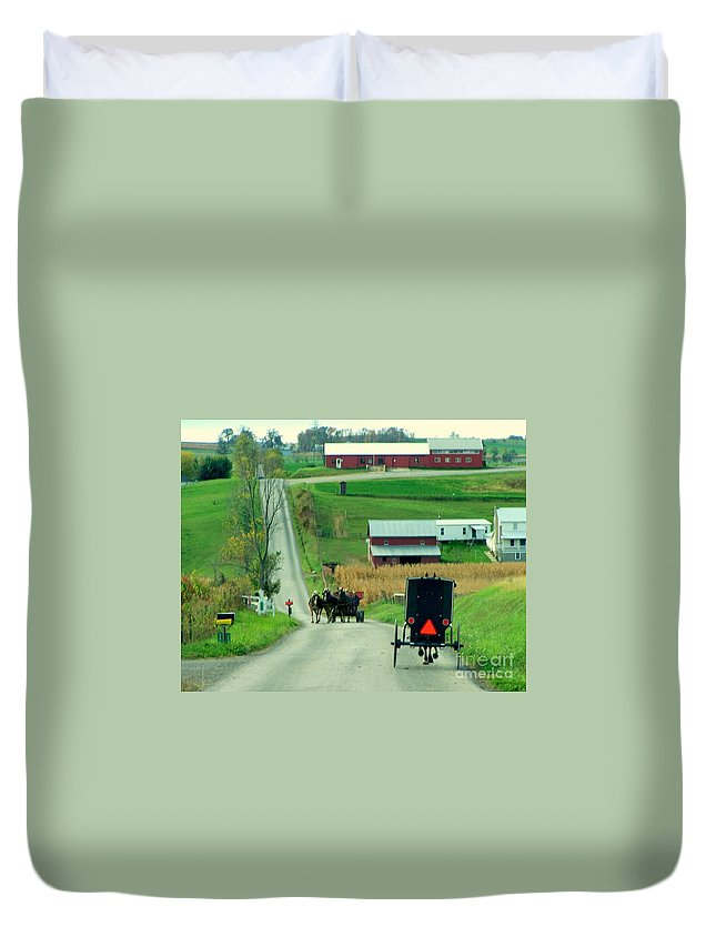 Amish Duvet Cover featuring the photograph Amish Horse And Buggy Farm by Charlene Cox